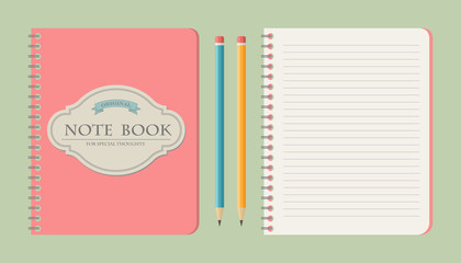 Set of write papers, pencils and and note books in vintage style