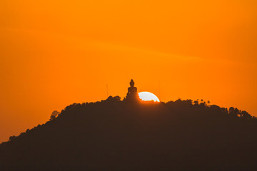 Big Buddha statue Was built on a high  hilltop of Phuket Thailand Can be seen from a distance.