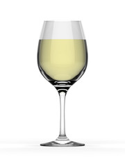 Elegant white wine glass on white background