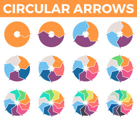 Circular arrows for infographics with 1 - 12 parts.