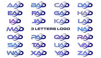 3 letters modern generic swoosh logo AAD, BAD, CAD, DAD, EAD, FAD, GAD, HAD, IAD, JAD, KAD, LAD, MAD, NAD, OAD, PAD, QAD, RAD, SAD, TAD, UAD, VAD, WAD, XAD, YAD, ZAD