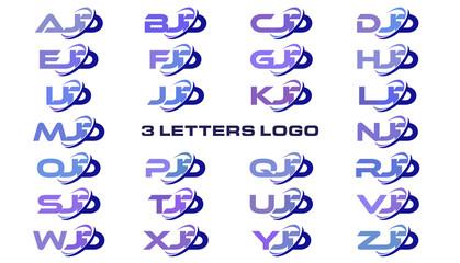 3 letters modern generic swoosh logo AJD, BJD, CJD, DJD, EJD, FJD, GJD, HJD, IJD, JJD, KJD, LJD, MJD, NJD, OJD, PJD, QJD, RJD, SJD, TJD, UJD, VJD, WJD, XJD, YJD, ZJD