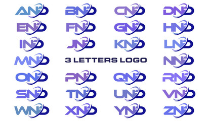 3 letters modern generic swoosh logo AND, BND, CND, DND, END, FND, GND, HND, IND, JND, KND, LND, MND, NND, OND, PND, QND, RND, SND, TND, UND, VND, WND, XND, YND, ZND
