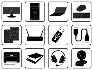 Black goods icons of computer online store