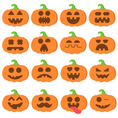 Set icon emoji cartoon pumpkin orange for halloween
