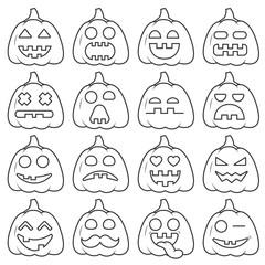 Set icon emoji pumpkin black line for halloween