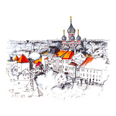 Color hand drawing, Toompea hill with fortress wall, tower and Russian Orthodox Alexander Nevsky Cathedral, view from the tower of St. Olaf church, Tallinn, Estonia. Picture made liner and markers