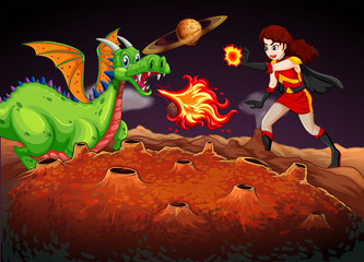 Superhero fighting dragon on red planet
