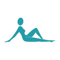 yoga body female position exercise fitness silhouette vector illustration