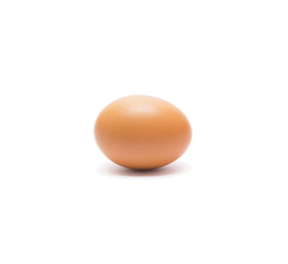 Beautiful single brown chicken egg isolated on white background