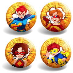 Round badges with superhero