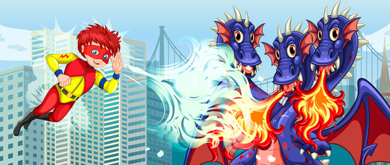 Superhero fighting three headed dragon in city