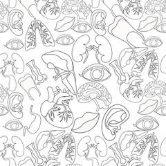 Coloring seamless pattern of human organs in the body and face.