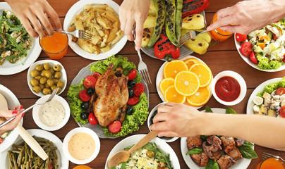 Friends eating in restaurant