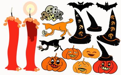 set halloween bat, pumpkin, witch hat.  illustration
