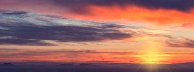 Panorama of Colorful Sunset Clouds over Atlantic Ocean