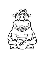 baby pacifier little funny sweet cute thick comic cartoon hippopotamus fat hippo