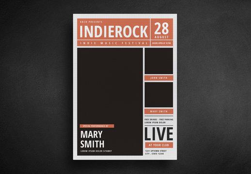 Indie Rock Newspaper-Style Flyer