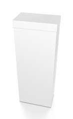 White tall vertical rectangle blank box with cover from top front side angle.