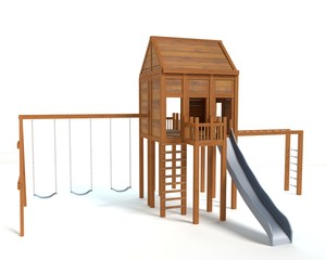 3d illustration of a playground
