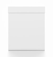 White vertical rectangle blank box with cover from front angle.