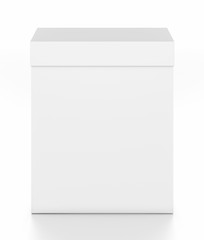 White vertical rectangle blank box with cover from top front angle.