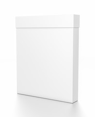 White thin vertical rectangle blank box with cover from side angle.