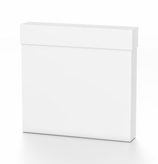 White thin rectangle blank box with cover from top front far side angle.