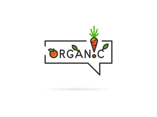 Organic linear vector illustration on white background. Organic with orange, carrot and plant (leaf, leaves, tree, orange, fruit, carrot, green) creative graphic concept.