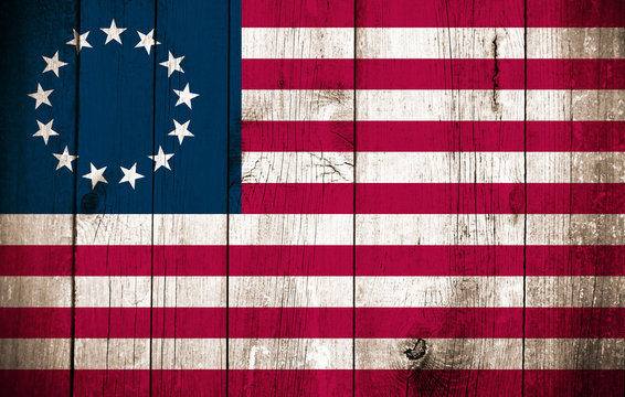 Wooden Betsy Ross Flag (historical US Flag)