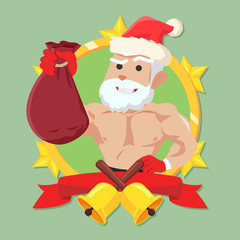 strong santa clause in circle logo colorful