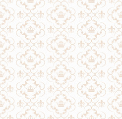 Abstract beige damask pattern or design template on white background
