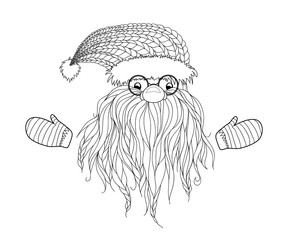 Santa Claus in Zentangle style. Beard, glasses, cap, mittens. Symbols of Christmas characters. Hand-drawn elements for New Year's design. Xmas sketch. Pattern for coloring book. Vector illustration.