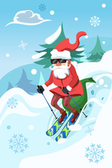 Santa Claus Riding a Snowboard