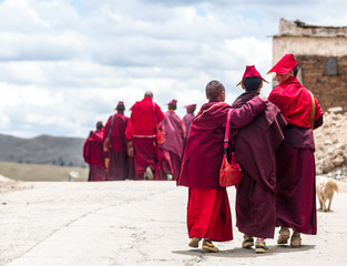 group of young tibetan monk students