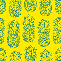 background of sketch pineapples