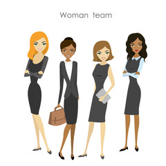 Set of four business woman cartoon female business team