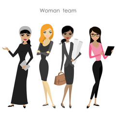 Set of four business woman, cartoon female team