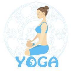 Woman meditating and relaxing in lotus pose