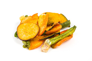 Dried mixed vegetables isolated on white background