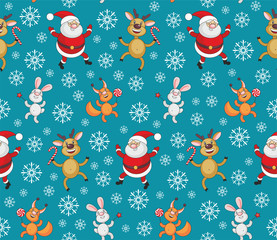 Christmas seamless pattern with the image of funny animals and Santa Claus