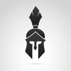 Ancient warrior, knight, spartan helmet icon. Vector art.