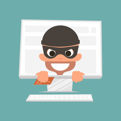 Thief holding a credit card. Concept of safe online shopping. Vector Illustration.