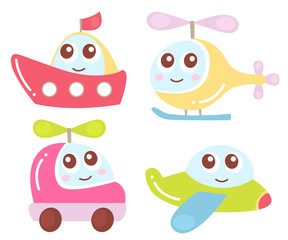 Cute kids transport collection plane, helicopter, car, ship. Vector illustration