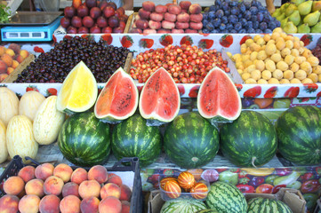 Various fruits on the counter on the market