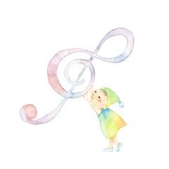 音符と小人、がんばりやさん