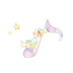 音符と小人、のんびりやさん