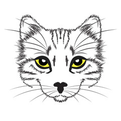 Door stickers Hand drawn Sketch of animals line drawing cat