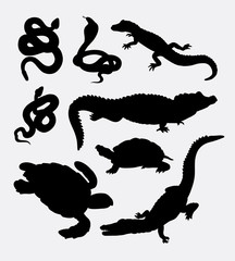 Reptiles animal silhouette. Crocodile, alligator, snake, cobra, tortoise, turtle, animal silhouettes. good use for symbol, logo, web icon, sign, mascot, sticker, or any design you want. Easy to use.