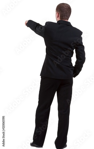"""Back view of pointing business man. gesticulating young ..."